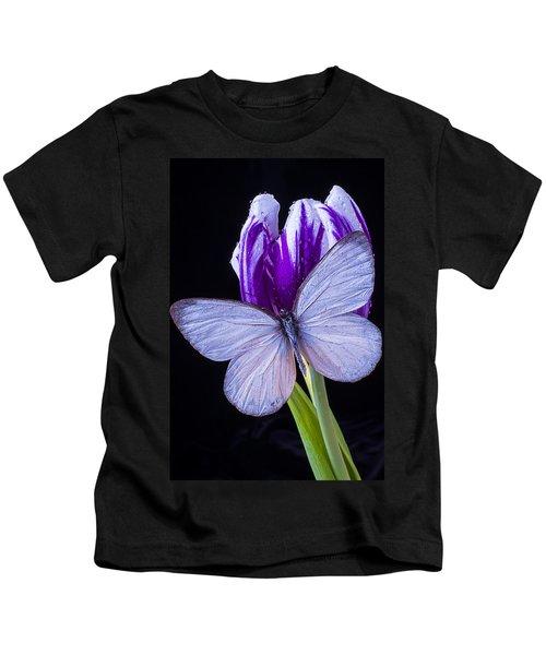 White Butterfly On Purple Tulip Kids T-Shirt