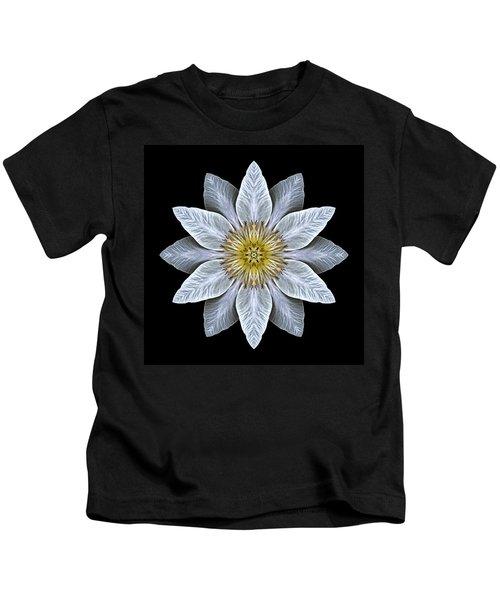 White Clematis Flower Mandala Kids T-Shirt