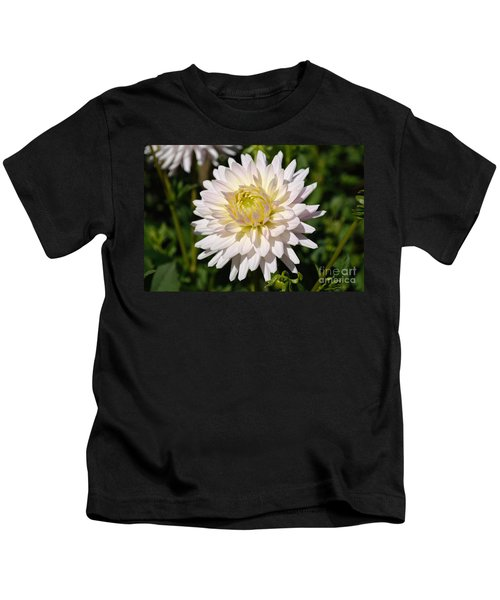 White Dahlia Flower Kids T-Shirt