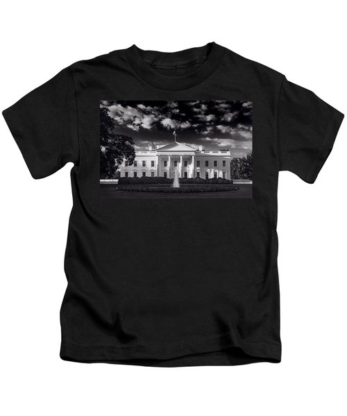 White House Sunrise B W Kids T-Shirt by Steve Gadomski