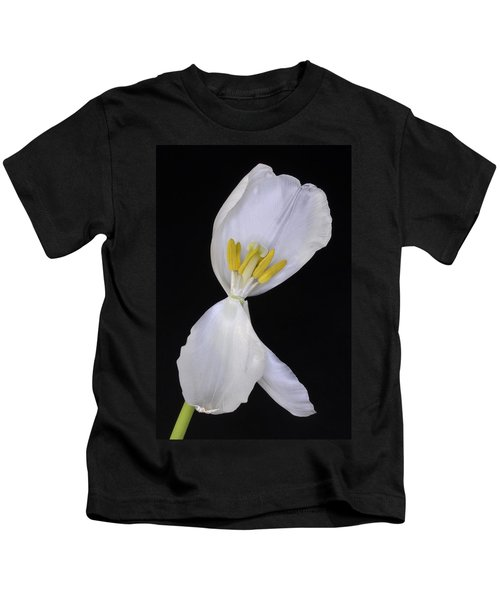 White Tulip On Black Kids T-Shirt
