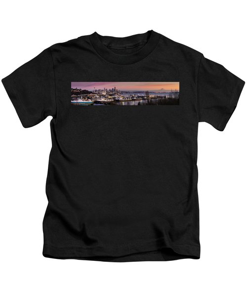 Wider Seattle Skyline And Rainier At Sunset From Magnolia Kids T-Shirt by Mike Reid