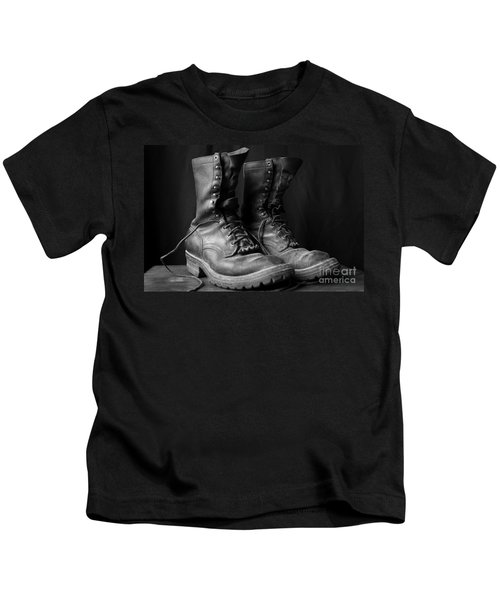 Wildland Fire Boots Still Life Kids T-Shirt