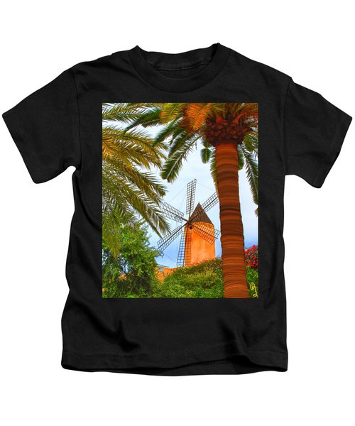 Windmill In Palma De Mallorca Kids T-Shirt