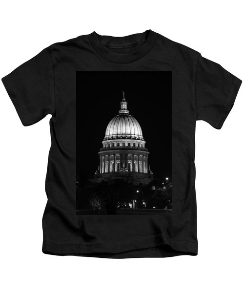 Wisconsin State Capitol Building At Night Black And White Kids T-Shirt