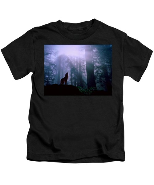 Wolf In The Woods Kids T-Shirt