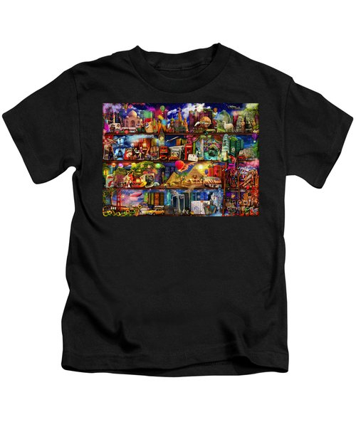 World Travel Book Shelf Kids T-Shirt