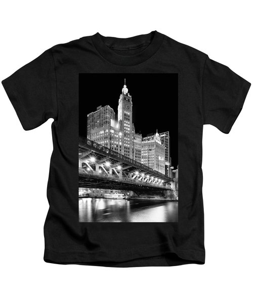 Wrigley Building At Night In Black And White Kids T-Shirt