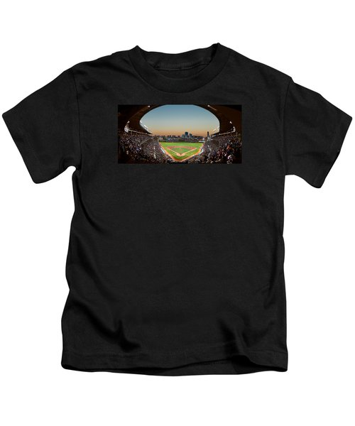 Wrigley Field Night Game Chicago Kids T-Shirt by Steve Gadomski
