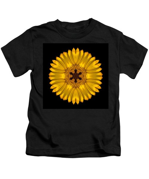 Yellow African Daisy Flower Mandala Kids T-Shirt