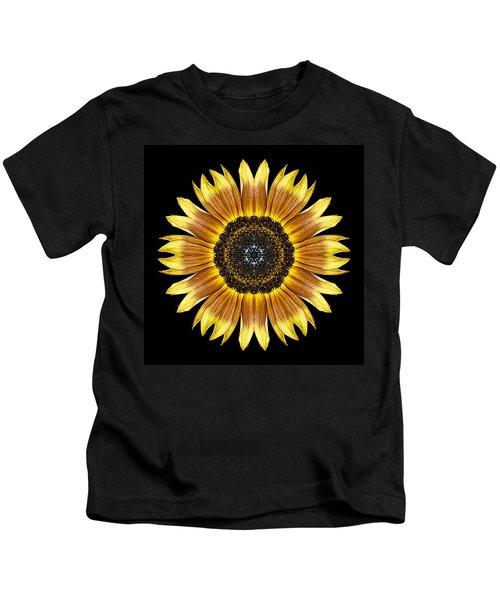 Yellow And Brown Sunflower Flower Mandala Kids T-Shirt