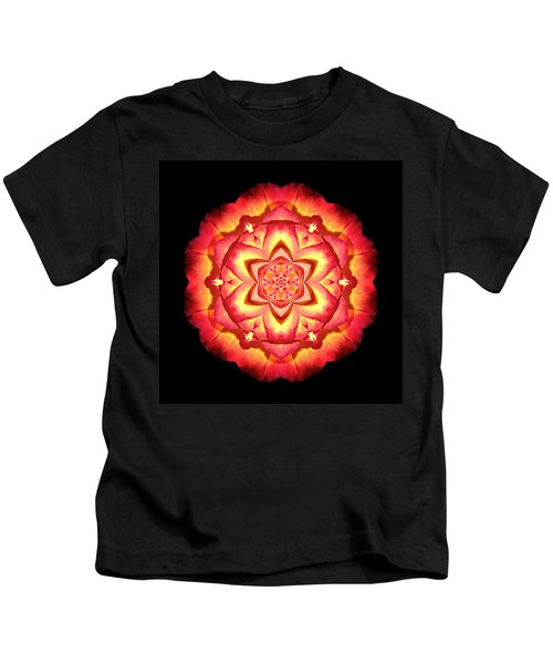 Yellow And Red Rose II Flower Mandalaflower Mandala Kids T-Shirt