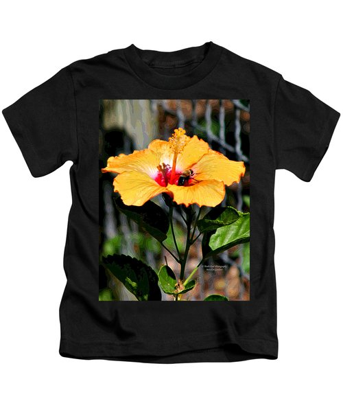 Yellow Bumble Bee Flower Kids T-Shirt
