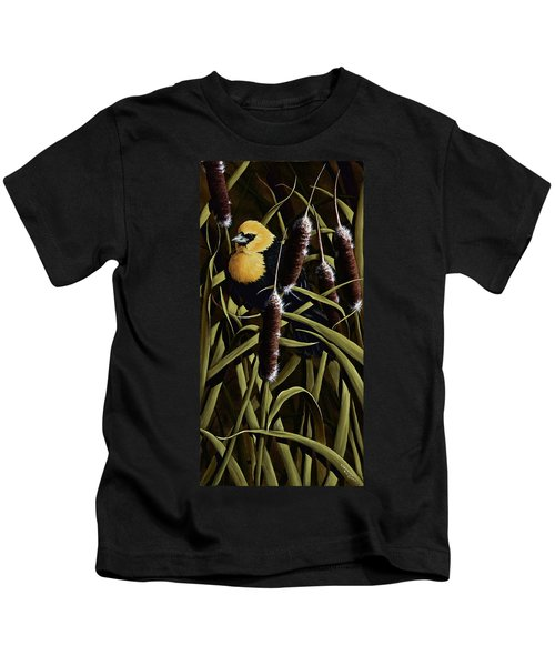 Yellow Headed Blackbird And Cattails Kids T-Shirt