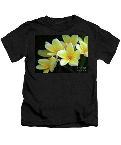 Yellow Plumeria Cascade Kids T-Shirt