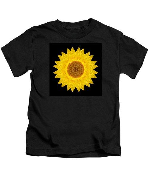 Yellow Sunflower Ix Flower Mandala Kids T-Shirt