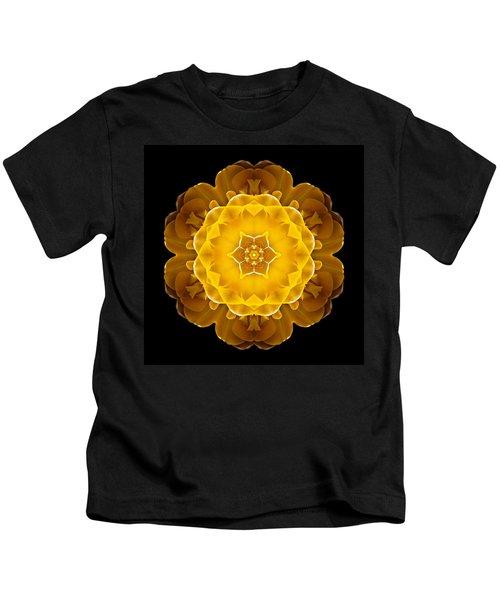 Yellow Tulip II Flower Mandala Kids T-Shirt