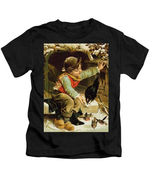 Young Boy With Birds In The Snow Kids T-Shirt