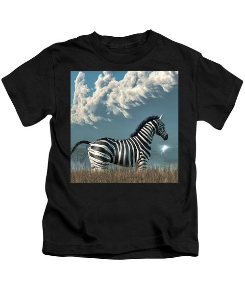 Zebra And Approaching Storm Kids T-Shirt