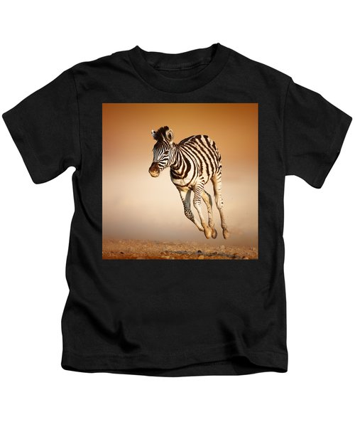 Zebra Calf Running Kids T-Shirt