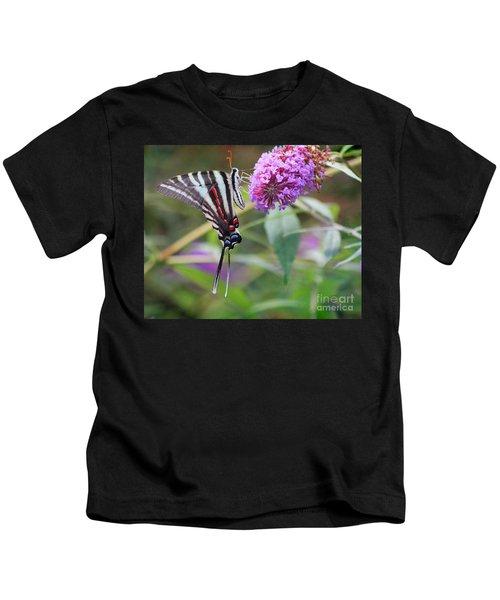 Zebra Swallowtail Butterfly On Butterfly Bush  Kids T-Shirt