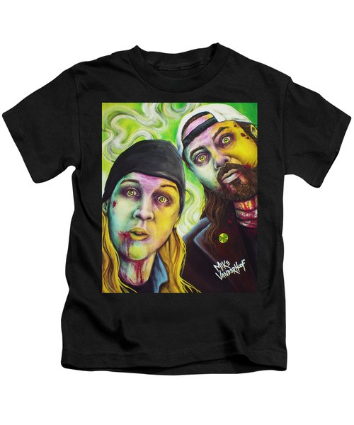 Zombie Jay And Silent Bob Kids T-Shirt by Mike Vanderhoof