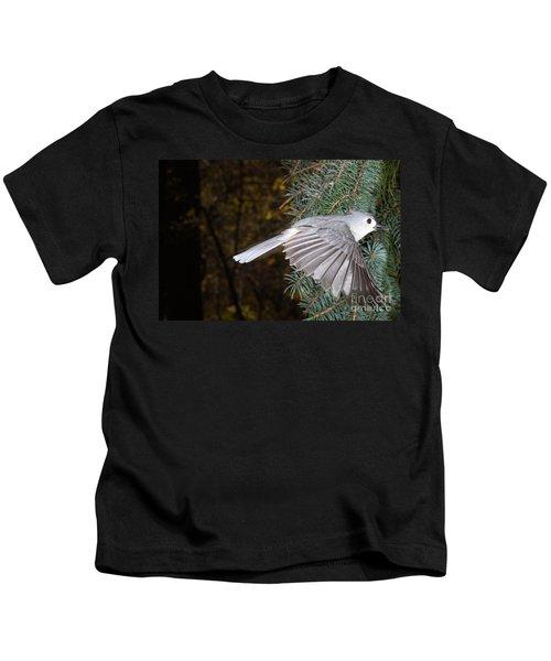 Tufted Titmouse In Flight Kids T-Shirt