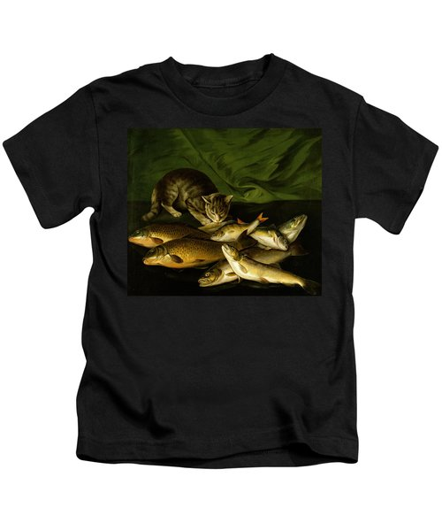 A Cat With Trout Perch And Carp On A Ledge Kids T-Shirt