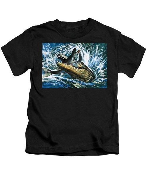 Alligator Eating Fish Kids T-Shirt