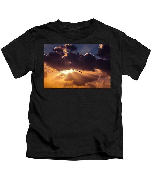 Bird In Sunrise Rays Kids T-Shirt