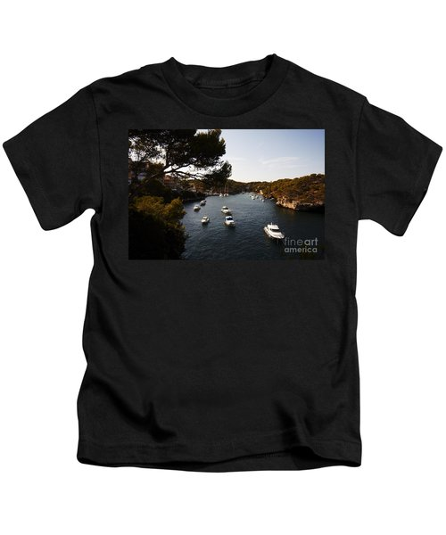 Boats In Cala Figuera Kids T-Shirt