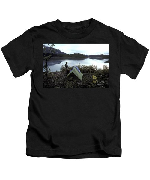 Camping On Bluff Above Glacier Bay Kids T-Shirt