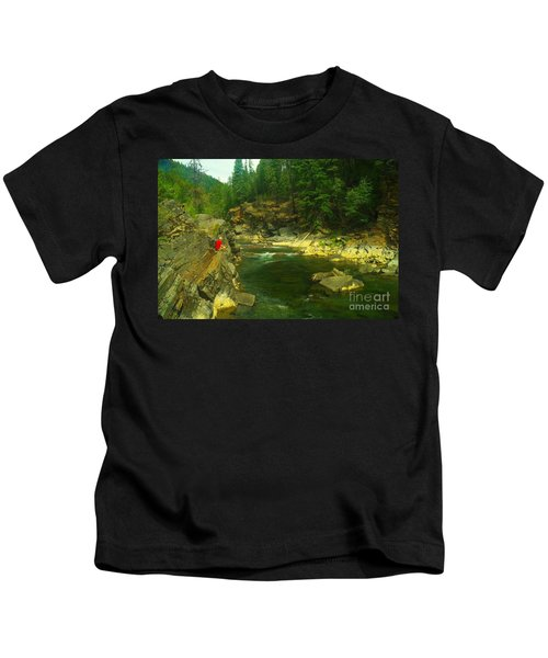 Cliff Over The Yak River Kids T-Shirt by Jeff Swan