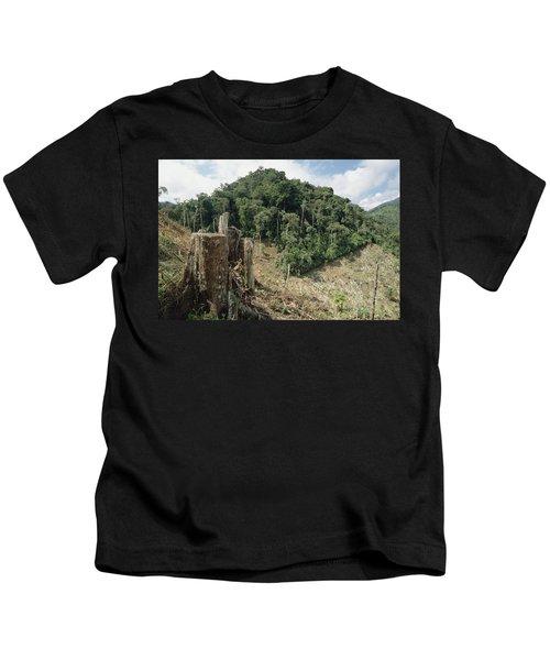 Deforested Hillside Of Wet Montane Kids T-Shirt