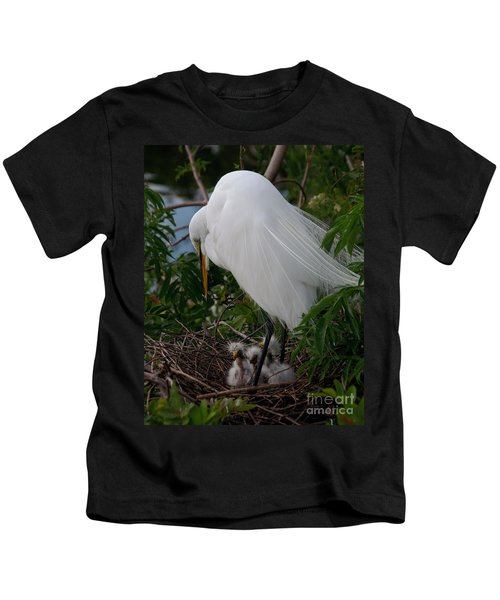 Egret With Chicks Kids T-Shirt