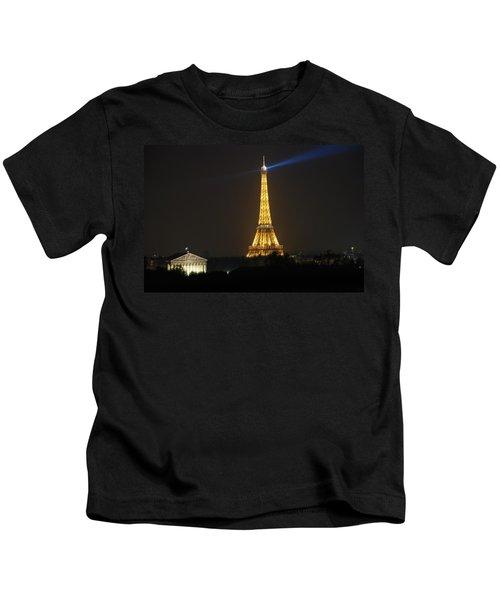 Eiffel Tower At Night Kids T-Shirt