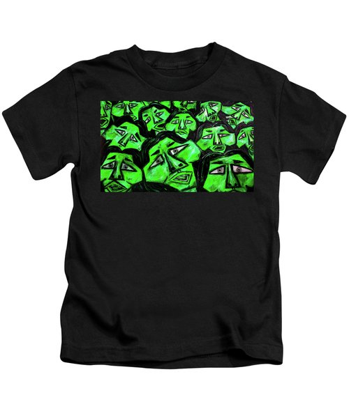 Faces - Green Kids T-Shirt