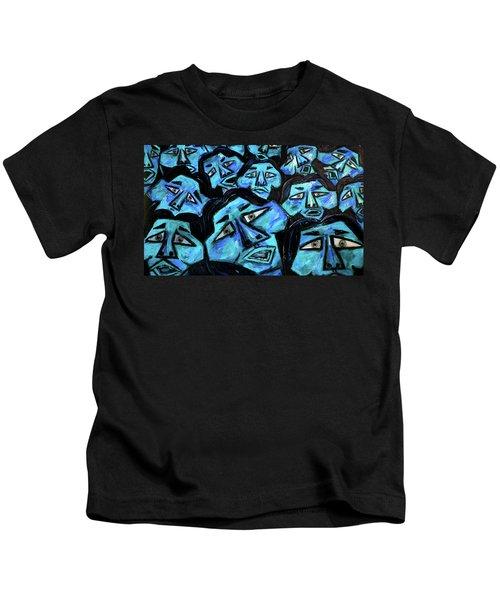 Faces - Light Blue Kids T-Shirt