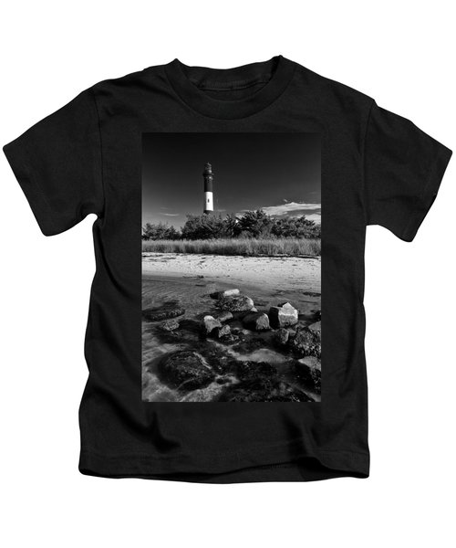 Fire Island In Black And White Kids T-Shirt