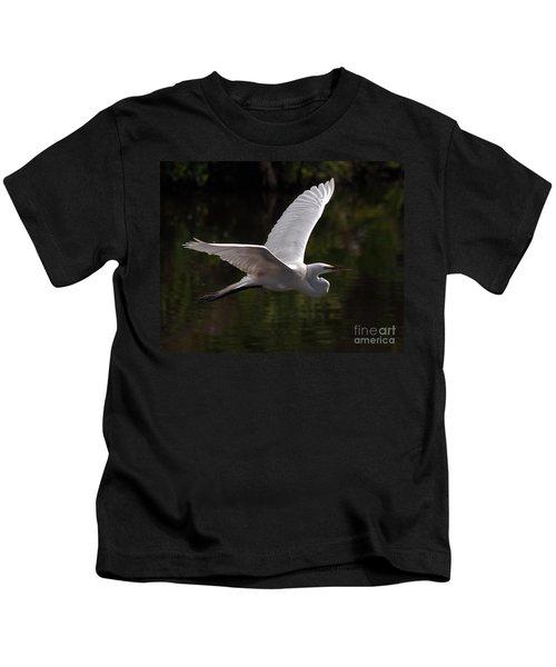 Great Egret Flying Kids T-Shirt