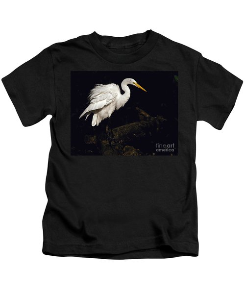 Great Egret Ruffles His Feathers Kids T-Shirt