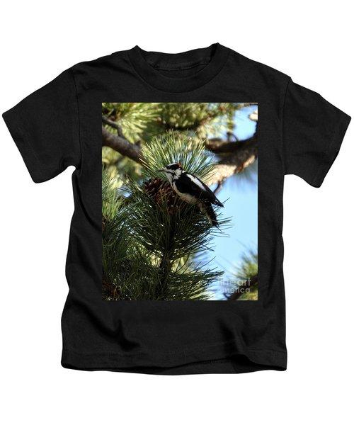 Hairy Woodpecker On Pine Cone Kids T-Shirt