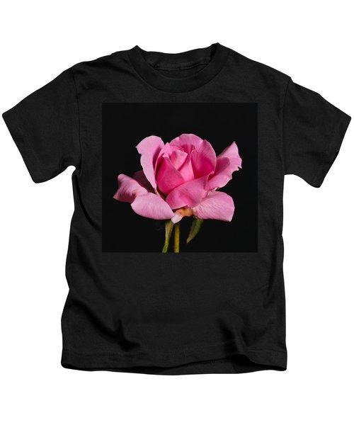 Pink Tea Rose Kids T-Shirt