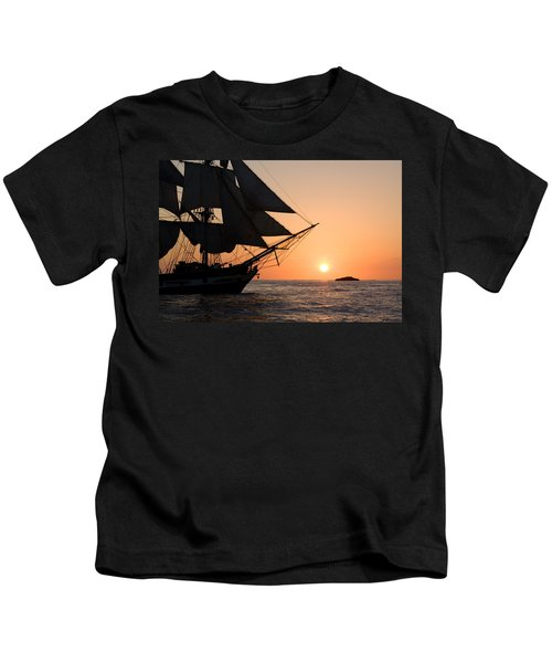 Silhouette Of Tall Ship At Sunset Kids T-Shirt