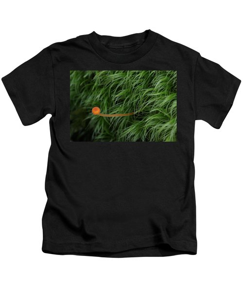 Small Orange Mushroom In Moss Kids T-Shirt