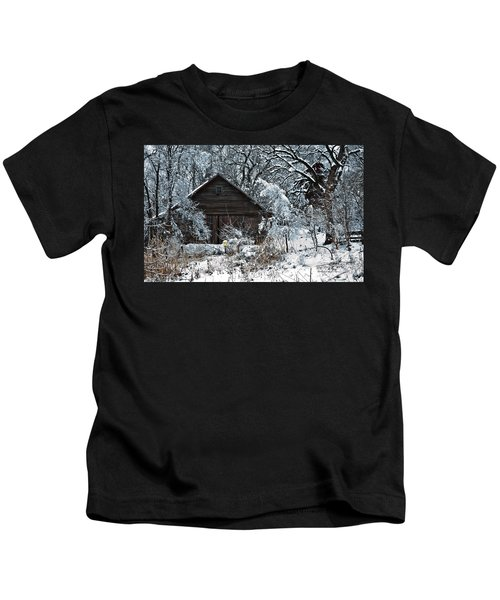 Snow Covered Barn Kids T-Shirt