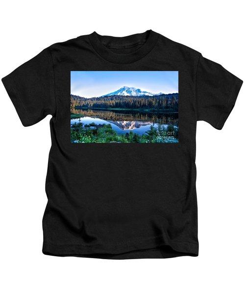 Sunrise At Reflection Lake Kids T-Shirt