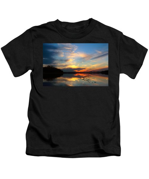 Sunset Over Calm Lake Kids T-Shirt