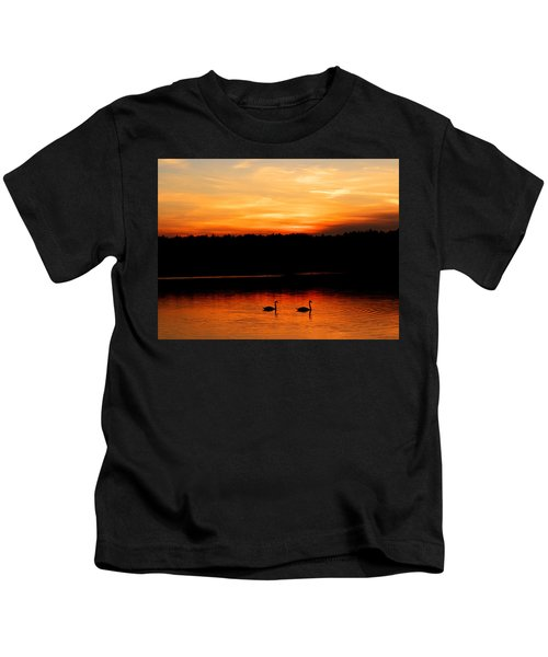 Swans In The Sunset Kids T-Shirt