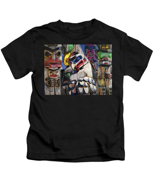 Totem Poles In The Pacific Northwest Kids T-Shirt
